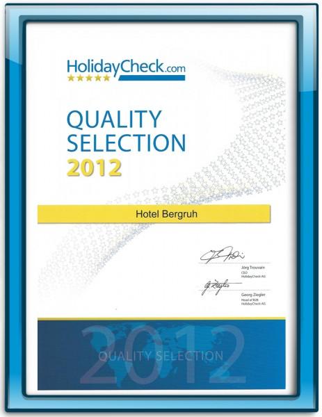 HolidayCheck Urkunde Quality Selection für Hotel Bergruh Oberstdorf