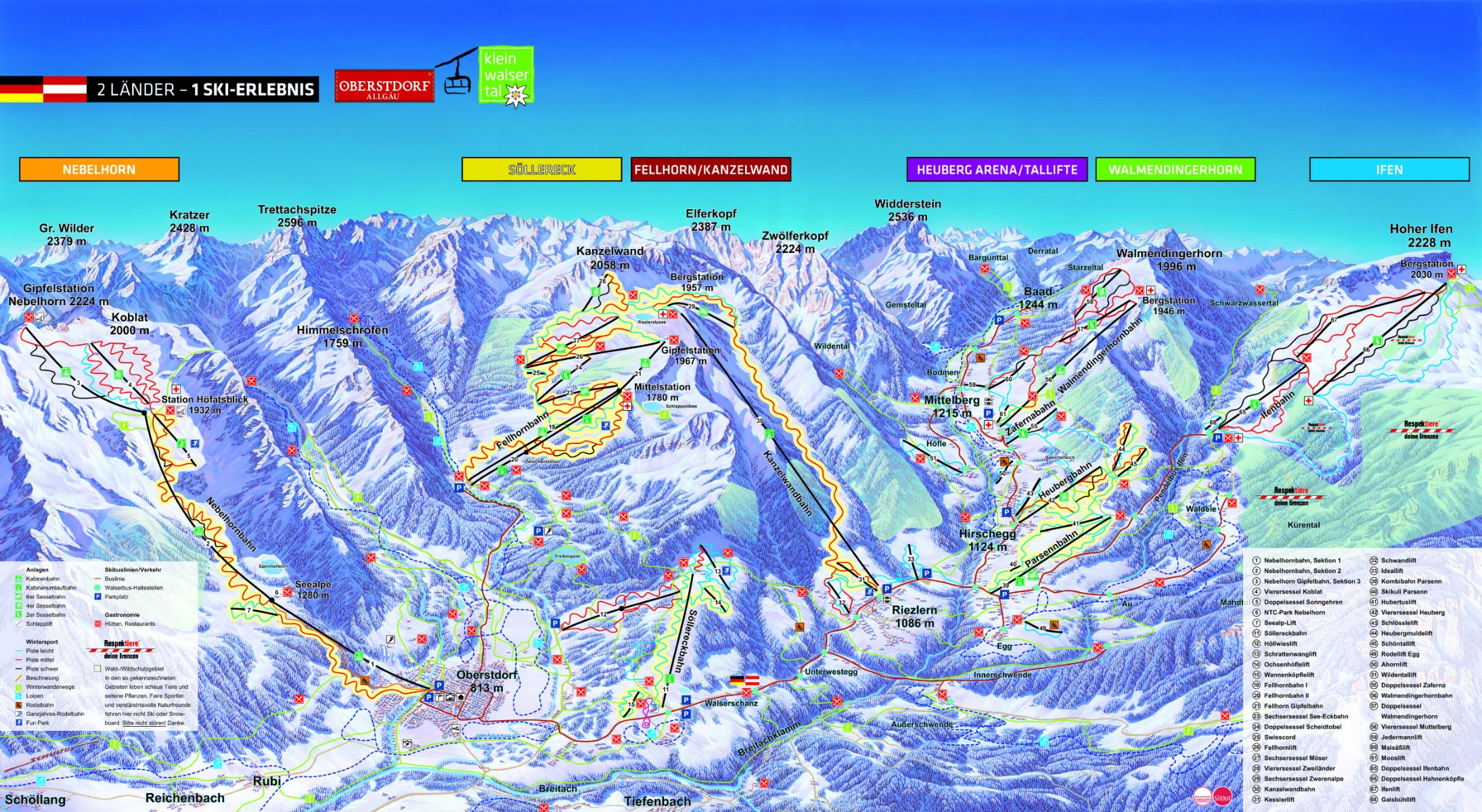 Panoramakarte Skigebiet Oberstdorf Kleiwalsertal - Hotel Bergruh - Oberstdorf Karte Deutschland