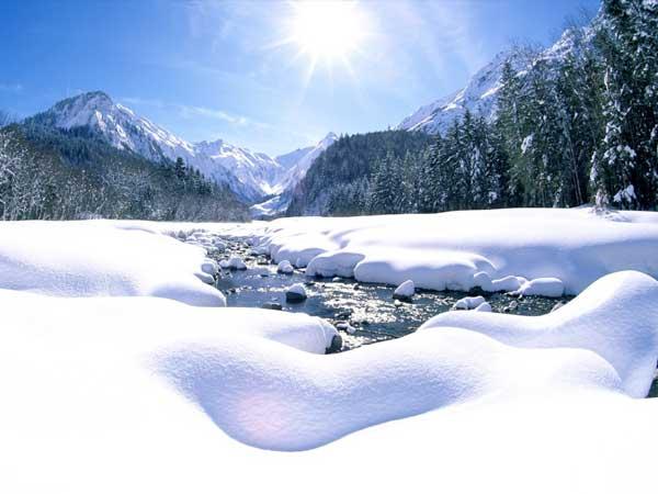 Winterliche Flusslandschaft in Oberstdorf - Hotel bergruh